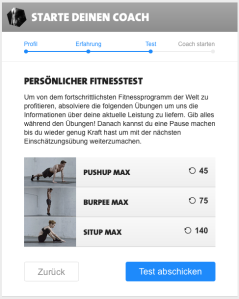 Freeletics Coach Settings Step 3 - Fitness Test