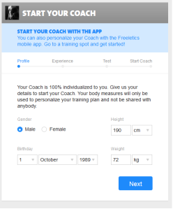 Freeletics Coach Step 1 - Profile