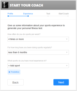 Freeletics Coach Settings Step 2 - Experiences