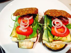 wholemeal sandwich with grilled vegetables, sheep milk cheese and salat