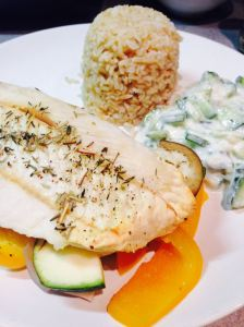 fish with vegetables, brown rice and tzatziki
